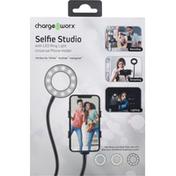 Chargeworx Phone Holder, with LED Ring Light, Selfie Studio, Universal