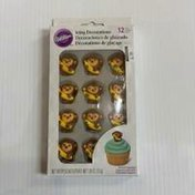 Wilton Monkey With Banana Royal Icing Cupcake Topper Decorations