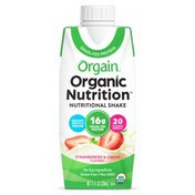 Orgain Organic Nutritional Shake, Strawberries and Cream - Ready to Drink, 16g Protein