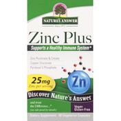 Nature's Answer Zinc Plus, 25 mg, Vegetarian Capsules