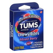 Tums Chew Bites, Mixed Berry, Extra Strength 750, Chewable Tablets