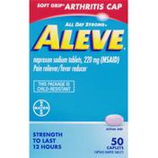 Aleve Pain Reliever/Fever Reducer, Caplets, Soft Grip Arthritis Cap