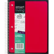 Smart Living Notebook, 5 Subject, Red, College Ruled