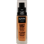 NYX Professional Makeup Full Coverage Foundation, Can't Stop Won't Stop, Golden CSWSF13