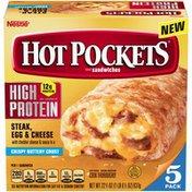 Hot Pockets Frozen Snack - HIGH PROTEIN Steak, Egg & Cheese Frozen Sandwiches