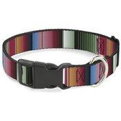 """Buckle-Down 1"""" Small Zarape5 Vertical Multi Color Stripe Plastic Clip Collar"""