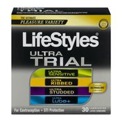 LifeStyles Ultra Trial The Ultimate Variety Lubricated Latex Condoms - 30 CT