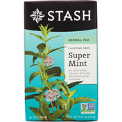 Stash Tea Herbal Tea, Caffeine-Free, Super Mint, Tea Bags