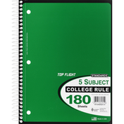 Top Flight Standards 5 Subject College Rule 180 Sheets