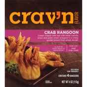 Crav'n Flavor Crab Rangoon Cream Cheese With Real Crab Meat, Carrots, Onion And Green Onion Wrapped In A Crispy, Golden Brown Fried Wheat Dough