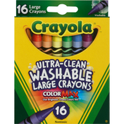 Crayola Crayons, Washable, Ultra-Clean, Large