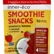 Inner Eco Smoothie Snacks, Strawberry, Banana + Coconut, Packets