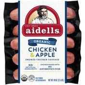 Aidells Smoked Organic Chicken Sausage, Chicken & Apple, 2.5 lb. (12 Fully Cook