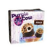 Purple Cow Vanilla Ice Cream With Fudge Sauce Core In A Sugar Cone Topped With Chocolate Flavored Coating And Peanuts Sundae Cones