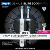 Oral-B Power Genius Elite 6000 Rechargeable Toothbrush, Powered by Braun, White & Black, Twin