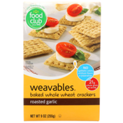 Food Club Weavables, Roasted Garlic Baked Whole Wheat Crackers