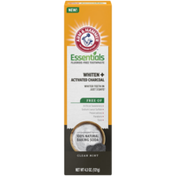 Arm & Hammer Essentials Fluoride-Free Toothpaste Whiten + Activated Charcoal-One Tube, Clean Mint- 100% Natural Baking Soda