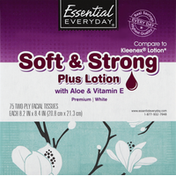 Essential Everyday Facial Tissue, Soft & Strong Plus Lotion, with Aloe & Vitamin E, White, Two-Ply