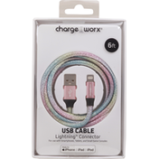 Chargeworx USB Cable, Lightning Connector, 6 Feet