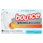 Bounce Wrinkleguard Mega Fabric Softener Dryer Sheets, Unscented