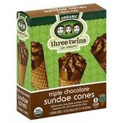 Three Twins Sundae Cones, Organic, Triple Chocolate