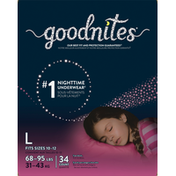 GoodNites Girls' Nighttime Bedwetting Underwear, L (68-95 lb.)