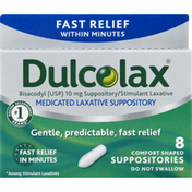 Dulcolax Laxative Suppository, Medicated, Comfort Shaped