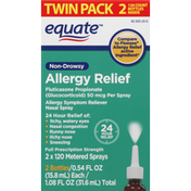 Equate Allergy Relief, Non-Drowsy, Sprays, Twin Pack