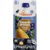 Happy Tot Fruit & Veggie Blend, Organic, Pears, Blueberries & Spinach, 4 (Tots & Tykes), 8 Pack
