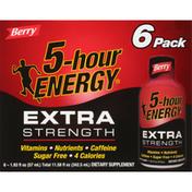 5-Hour Energy Energy Shot, Berry, Extra Strength, 6 Pack