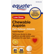 Equate Aspirin, Low Dose, 81 mg, Chewable Tablets, Orange Flavor