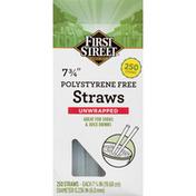 First Street Straws, Polystyrene Free, Unwrapped, 7.75 Inch