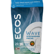 ECOS Dishwasher Packs, Free & Clear, Wave