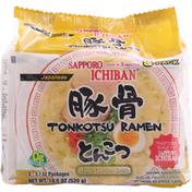 Sapporo Ichiban Tonkotsu Ramen, Japanese, White Chicken Broth, 5 Pack