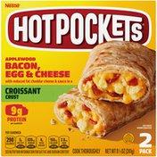 Hot Pockets Applewood Bacon, Egg & Cheese Croissant Crust Frozen Breakfast Sandwiches