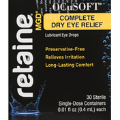 Retaine Lubricant Eye Drops, Complete Dry Eye Relief, Single-Dose Containers