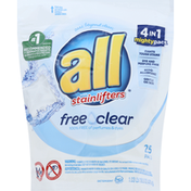 all Detergent, Free Clear, 4 in 1 Mighty Pacs