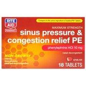 Rite Aid Pharmacy Nasal Decongestant PE, 10 mg, Tablets, 18 tablets