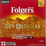 Folgers Coffee, 100% Colombian, Medium, K-Cup Pods