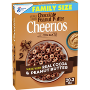 Cheerios Cereal, Whole Grain Oat, Sweetened, Chocolate, Peanut Butter, Family Size