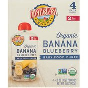 Earth's Best Stage 2 Banana Blueberry Organic Baby Food Puree