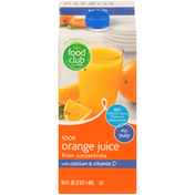 Food Club 100% Orange No Pulp Juice From Concentrate With Calcium & Vitamin D