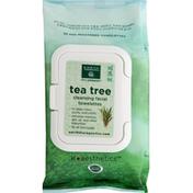 Earth Therapeutics Towelettes, Facial Cleansing, Pre-Moistened, Tea Tree