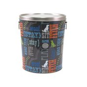 Paw Prints Tin Pet Food Container With Word Play