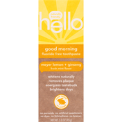 hello Toothpaste, Fluoride Free, Good Morning, Meyer Lemon + Ginseng, Fresh Mint Flavor