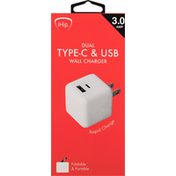 iHip Wall Charger, Dual, Type-C & USB
