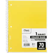 Mead Notebook, Spiral, 1 Subject, College Ruled, 70 Sheets