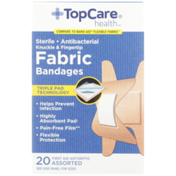 TopCare Antibacterial Fabric First Aid Antiseptic Assorted Knuckle & Fingertip Bandages