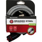 Schwinn Key Cable Lock, Braided Steel