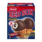 Hood Red Sox Ice Cream Cone Chocolate Dipped Fudge Center - 4 PK